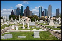 Congregation Beth Israel Cemetery and skyline. Houston, Texas, USA ( color)