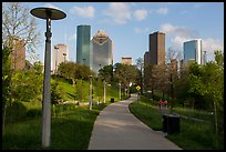 Path in park and skyline. Houston, Texas, USA ( color)