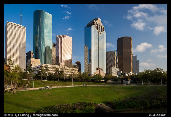 Lawn and Skyline District. Houston, Texas, USA (color)
