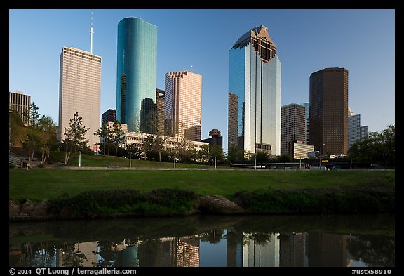 Skyscrapers from Sabine to Bagby Promenade. Houston, Texas, USA (color)