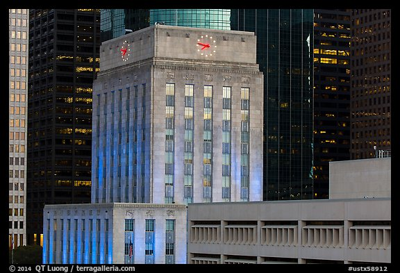 Art deco and modern buildings. Houston, Texas, USA (color)