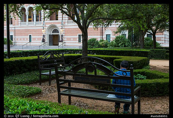 Man reading on bench, Rice University. Houston, Texas, USA (color)