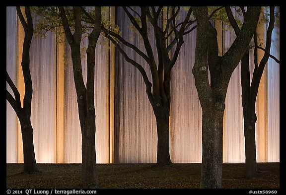 Trees and back Gerald D. Hines Waterwall at night. Houston, Texas, USA (color)