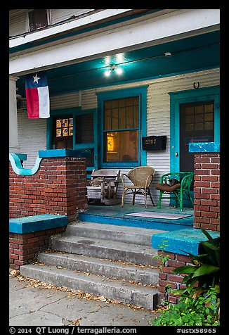Porch with Texas flag. Houston, Texas, USA (color)