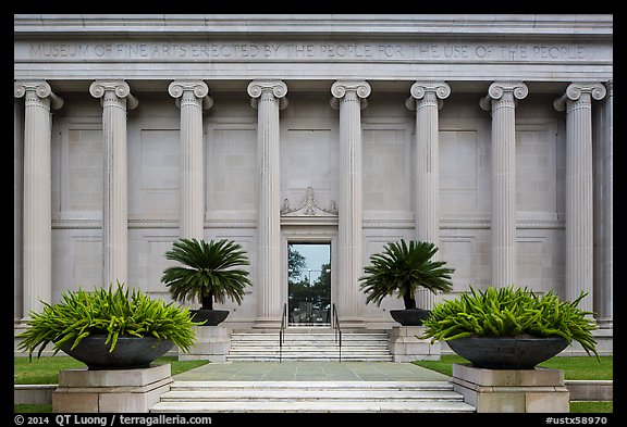 Facade with columuns and motto, Museum of Fine Arts. Houston, Texas, USA (color)