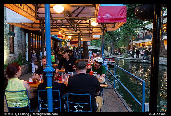 Enjoying drinks on Riverwalk. San Antonio, Texas, USA (color)