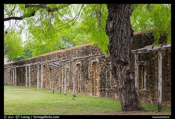 Protective wall, Mission San Jose. San Antonio, Texas, USA (color)