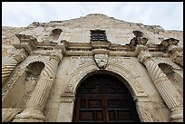 Looking up facade of the Alamo. San Antonio, Texas, USA ( color)