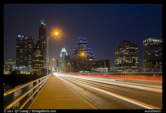 Skyline from Congress Avenue Bridge. Austin, Texas, USA (color)