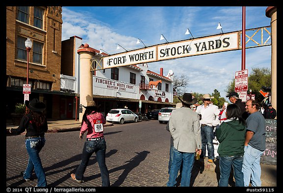 Fort Worth Stokyards gate. Fort Worth, Texas, USA (color)