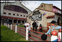 Men in front of Cowtown Coliseum. Fort Worth, Texas, USA ( color)