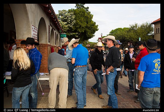 Rodeo contestants line up, Stockyards. Fort Worth, Texas, USA (color)