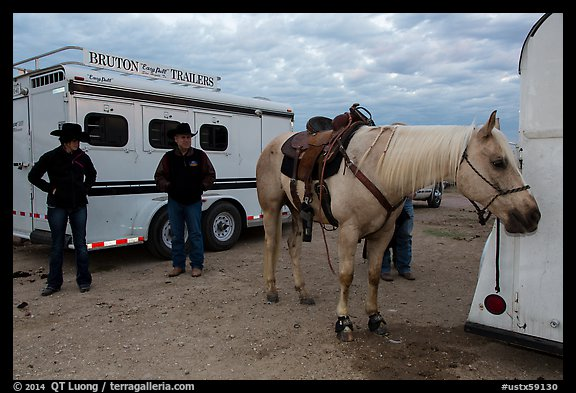 Horse, trailers, and rodeo contestants. Fort Worth, Texas, USA (color)