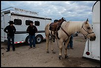 Horse, trailers, and rodeo contestants. Fort Worth, Texas, USA ( color)