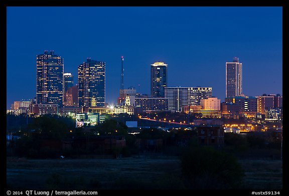 Skyline at night. Fort Worth, Texas, USA (color)