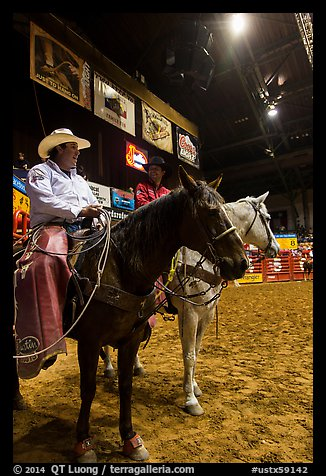 Men with horses and lassos, Stokyards Rodeo. Fort Worth, Texas, USA (color)