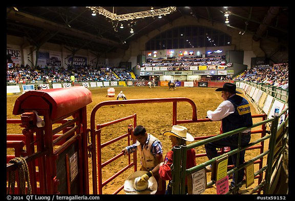 Cowtown coliseum during Stokyards Championship Rodeo. Fort Worth, Texas, USA (color)