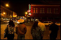 Fort Worth Stockyards at night. Fort Worth, Texas, USA ( color)