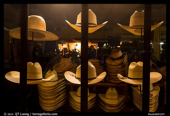 Cowboys hats for sale. Fort Worth, Texas, USA (color)