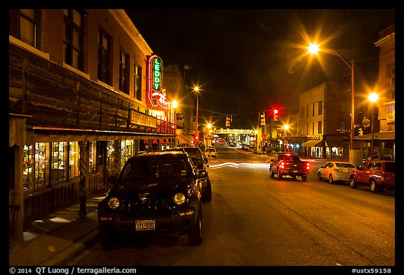 Street at night, Stockyards. Fort Worth, Texas, USA (color)