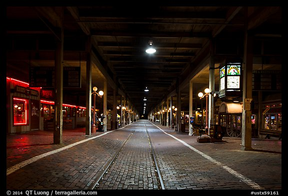 Station at night, Stockyards. Fort Worth, Texas, USA (color)