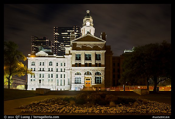 Courthouse at night. Fort Worth, Texas, USA (color)