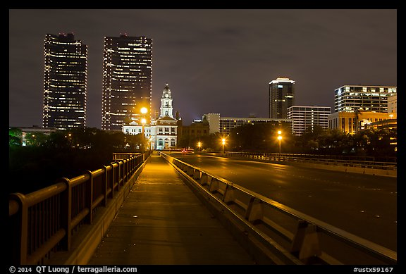 Bridge, courthouse, and skyline at night. Fort Worth, Texas, USA (color)