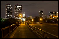 Bridge, courthouse, and skyline at night. Fort Worth, Texas, USA ( color)