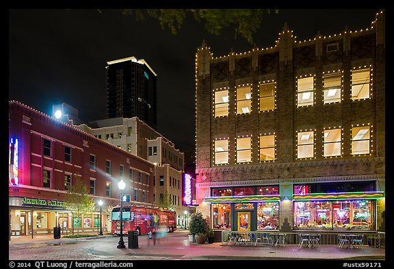 Dowtown street at night. Fort Worth, Texas, USA (color)