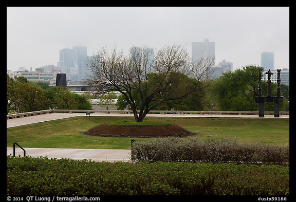 Fort Worth skyline from sculpture garden of Ammon Carter Museum. Fort Worth, Texas, USA (color)