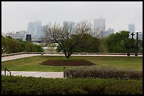 Fort Worth skyline from sculpture garden of Ammon Carter Museum. Fort Worth, Texas, USA ( color)