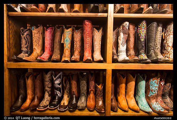 Leather cowboy boots for sale. Fort Worth, Texas, USA (color)