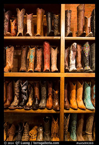 Cowboy boots for sale. Fort Worth, Texas, USA (color)