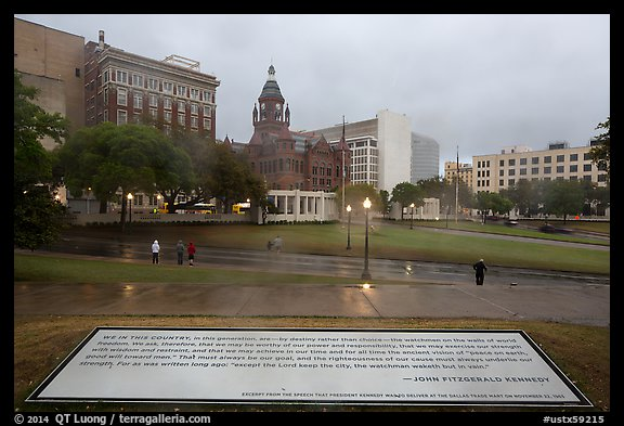Sign commemorating JFK on assassination site. Dallas, Texas, USA (color)