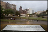 Sign commemorating JFK on assassination site. Dallas, Texas, USA ( color)