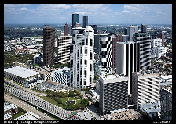 Aerial view of Skyline District. Houston, Texas, USA (color)