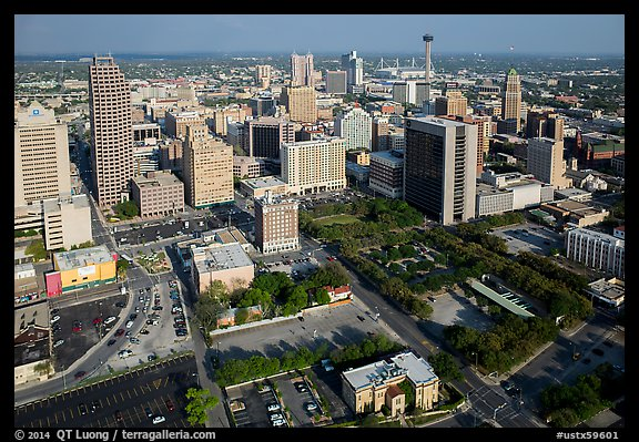 Aerial view of downtown. San Antonio, Texas, USA (color)