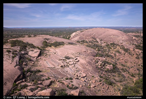 Aerial view of Enchanted Rock granite domes. Texas, USA (color)