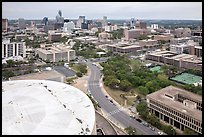 Aerial view of Austin skyline from above Frank Erwin Center. Austin, Texas, USA ( color)