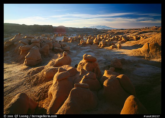 Goblin Valley from the main viewpoint, sunrise, Goblin Valley State Park. Utah, USA (color)