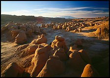 Goblin Valley from the main viewpoint, sunrise, Goblin Valley State Park. Utah, USA