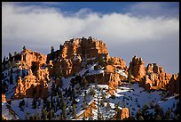 Hoodoos and cliffs in winter, Red Canyon. Utah, USA ( color)