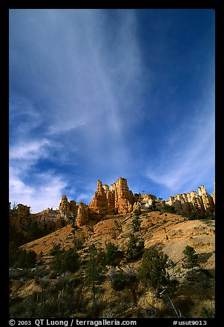 Hoodoos and clouds, Red Canyon, Dixie National Forest. Utah, USA (color)