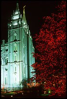 Great Mormon Temple with Christmas lights, Salt Lake City. Utah, USA