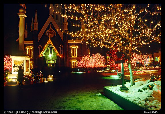 Temple Square with Christmas lights,Salt Lake City. Utah, USA (color)