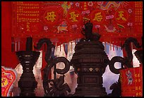 Urn and incense. Cholon, District 5, Ho Chi Minh City, Vietnam (color)