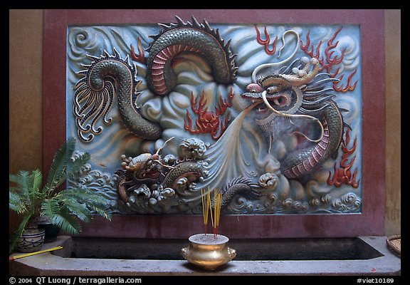 Dragon bas-relief. Cholon, District 5, Ho Chi Minh City, Vietnam (color)