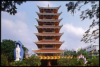 Eight-story tower of Vinh Ngiem pagoda, District 3. Ho Chi Minh City, Vietnam
