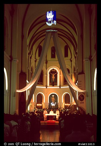 Christmas night mass, Cathedral St Joseph. Ho Chi Minh City, Vietnam (color)