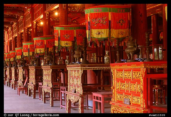 Interior of Hall of the Mandarins, Hue citadel. Hue, Vietnam (color)